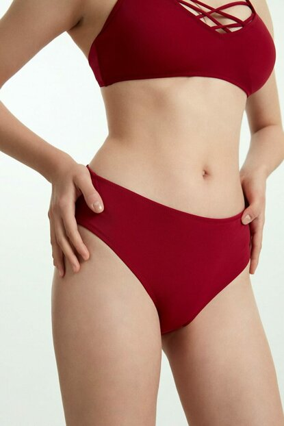 Women's Burgundy Midi High Waist Bikini Bottom SB19110