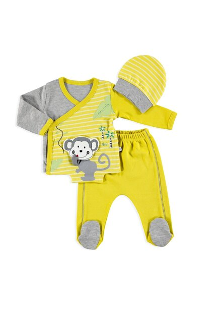 o Baby Cute Monkey Bottom Hat Bottom Hat 3-Piece Set 19KMIOESET006