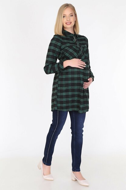 Neck Zipper Detailed Plaid Maternity Tunic 8660