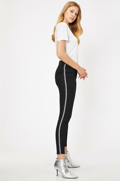 Women Black Tie Detailed Jean Trousers 9KAK47641DD