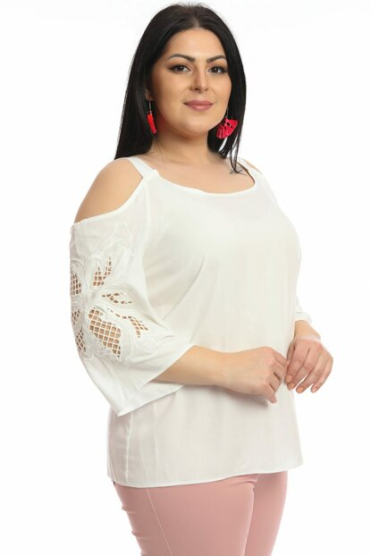 Women's White Sleeve Top Embroidered Shoulder Open Blouse P468