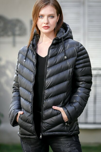 Women's Black Hooded Large Size Oversize Inflatable Coats C10210300MN99952