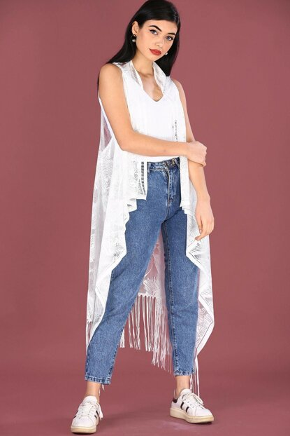 Ecru Women's Vest with Tassels YLK0407D7003