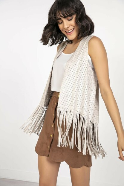 Women's Skirt Tasseled Lycra Suede Vest Cream S-20K2800034