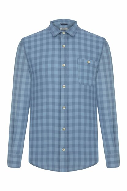 Men's Blue Plaid Regular Shirt 335639