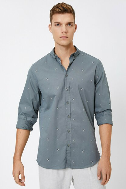Men's Green Patterned Shirt 0KAM61087BW
