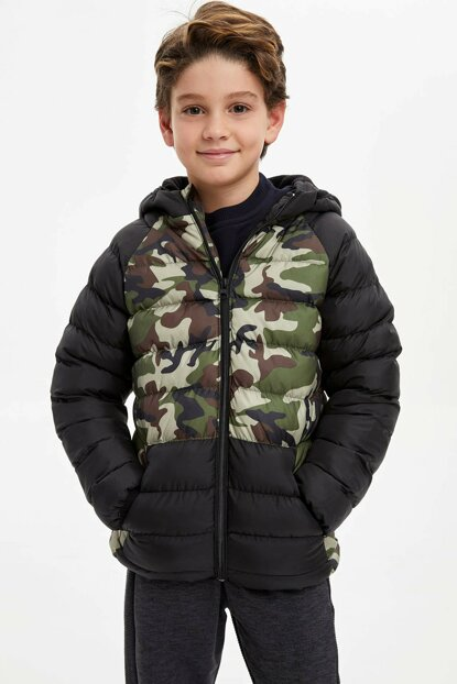 Camouflage Printed Color Block Hooded Coat N5637A6.19WN.BK27