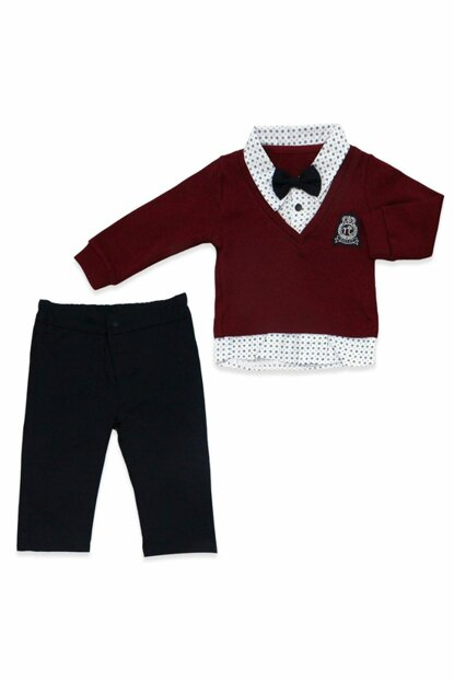 Bow Tie With Coat Burgundy 2 Li Baby Suit K813 68-74CM (6-9Month) 813BM