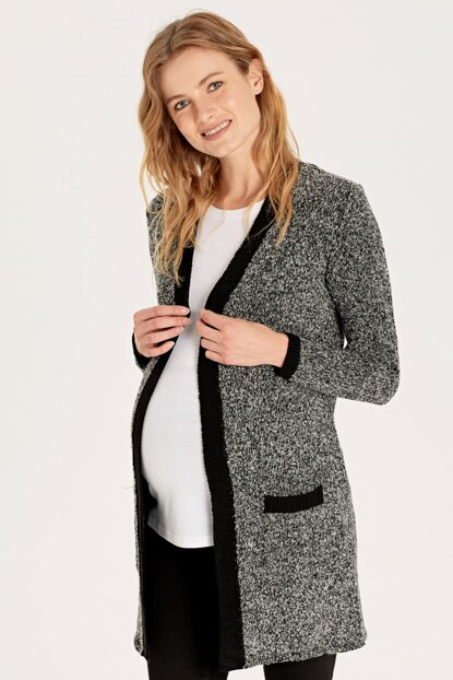 Women's Gray Melange Cx7 Maternity Clothing Cardigan 9WI294Z8