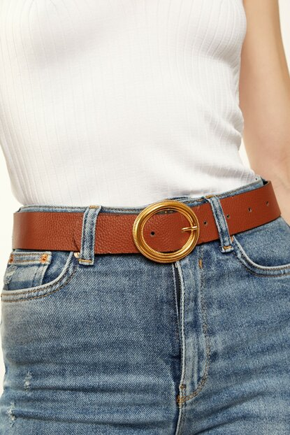 Women's Brown Gold Buckle Synthetic Leather Belt DL00011
