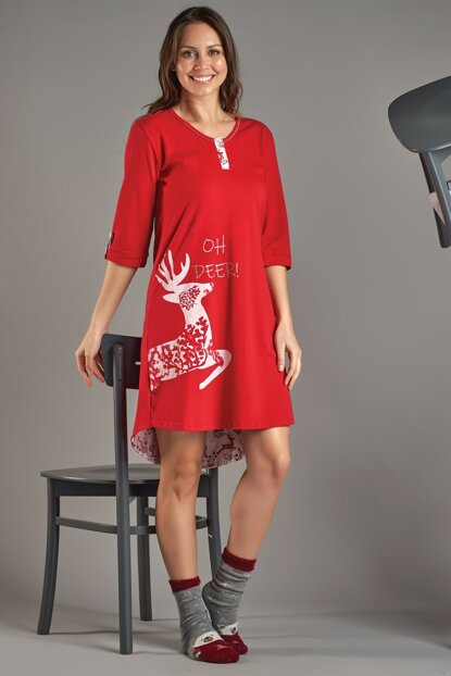 Women Red Long Sleeve Nightgown 11512