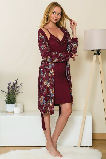 Women's Burgundy Cotton Nightgown Dressing Gown 2-Piece Set Lingabooms 1535 MBY1535