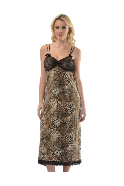 Leopard Patterned Combed Long Nightgown STNKG-1468