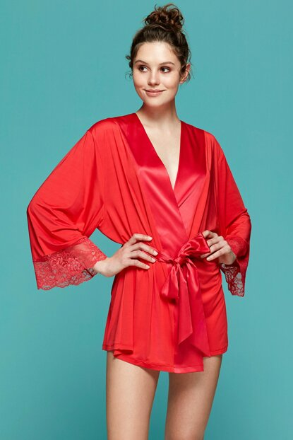 Women's Red Lace Detail Dressing Gown 5672SALV19B_056