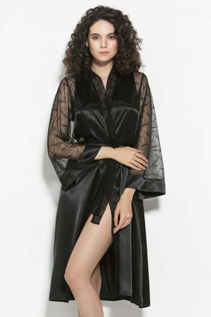 Sexy Nightgown and Satin Dressing Gown Suit Black mitelove-1838
