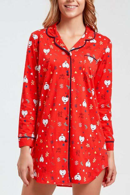 Women's Red Printed Coffee Time Short Nightdress SH2047061395