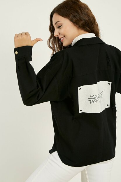 Back Print Ripped Jacket - Black - 20KCE253K108