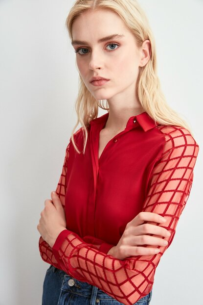Red Sleeve Detailed Shirt TWOAW20GO0407