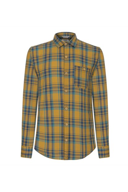 Men's Mustard Plaid Regular Cotton Shirt 350539