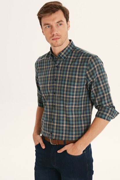 Men's Green Plaid Shirt 9W2905Z8