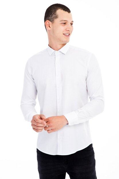 Long Sleeve Patterned Slim Fit Shirt 81334/1