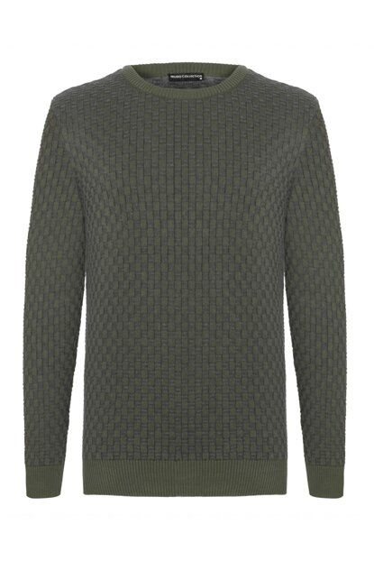 Men's Khaki Braided Crew Neck Sweater 340753