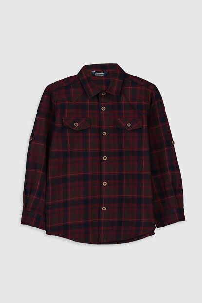 Boy Red Plaid Shirt 9WU469Z4