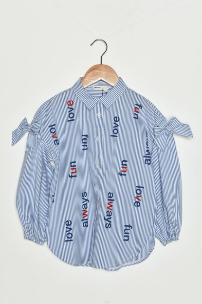 Blue Girl Striped Shirt 9KKG67830AW