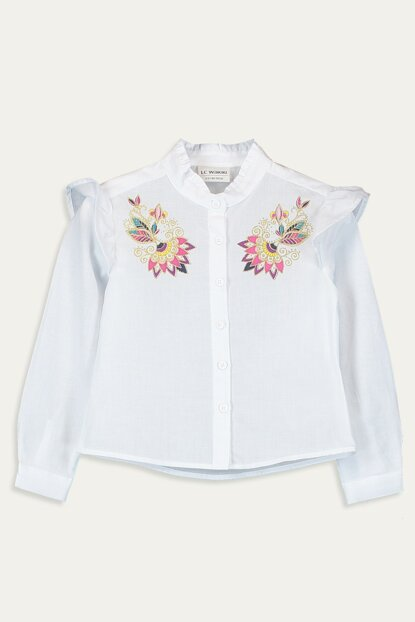 Girl's Optical White Ffb Shirt 9WG746Z4