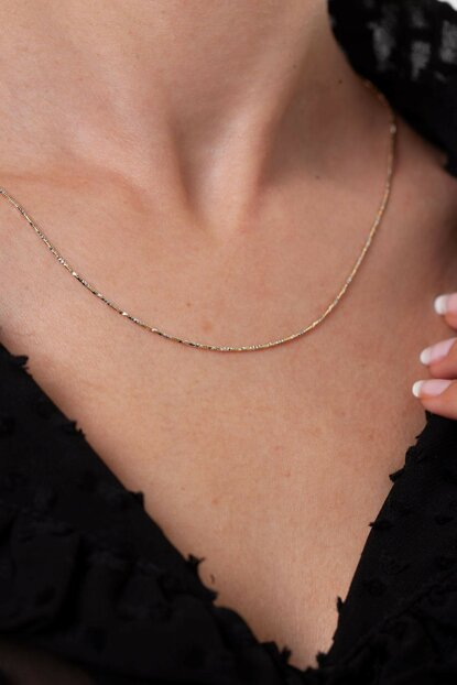 Women's Gold Plated Silver Italian Chain Necklace NNVSLVR02909