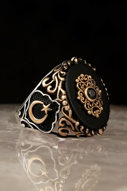 Ayyıldız Model Onyx 925 Sterling Silver Men Ring EGYT-150