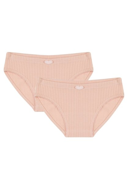 Organic Powder Report Interlock 2 Pack Girls' Panties G_PEACHRIB_UW_930