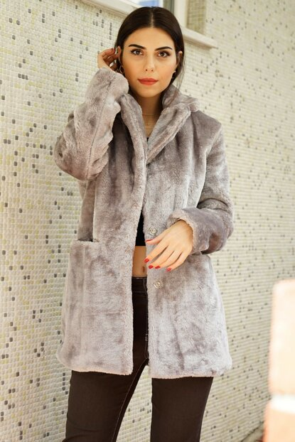 Women's Gray Fur Coat P-0000002580-GRAY