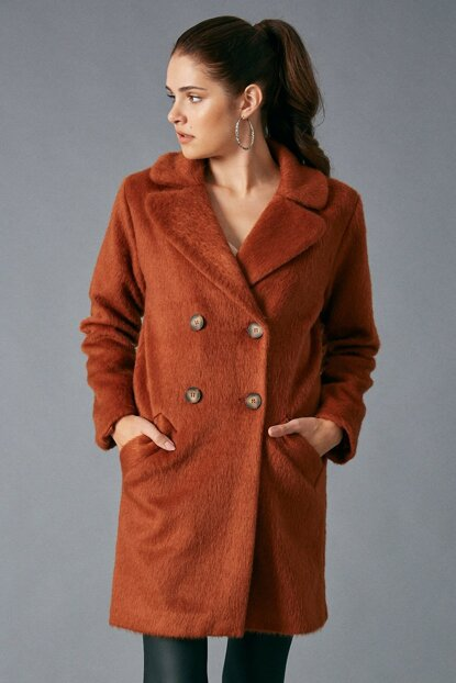Women's Pocket Detailed Button Coat Brown D89282-108