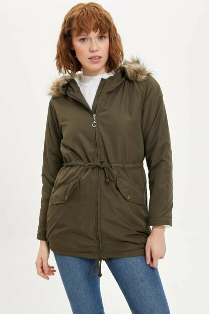Women's Khaki Hooded Fur Detail Waist Pleated Parka N0288AZ.19WN.KH3