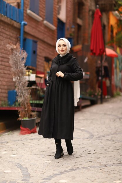 Portable Fur Collar Black Stamp Hijab Coat 5038