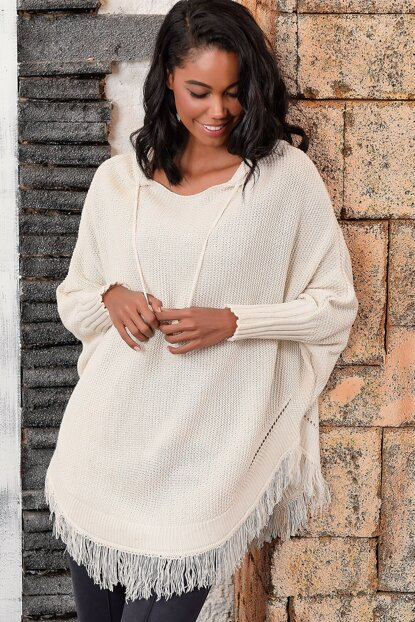 Women's Stone Hooded Poncho ALC-KRM-1111