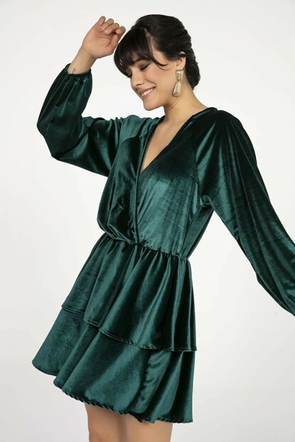 Women's Green Double Breasted Hem Double Layer Flywheel Velvet Dress Green S-20K3500044