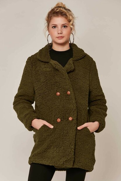 Women's Khaki Plush Lamb Jacket 10419 Y19W126-10419
