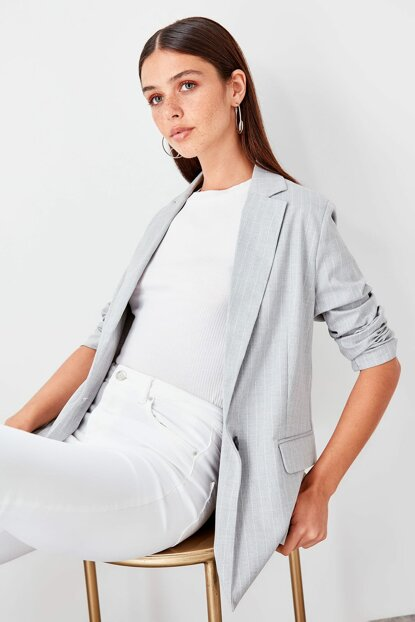 Gray Striped Blazer Jacket TWOAW20CE0043