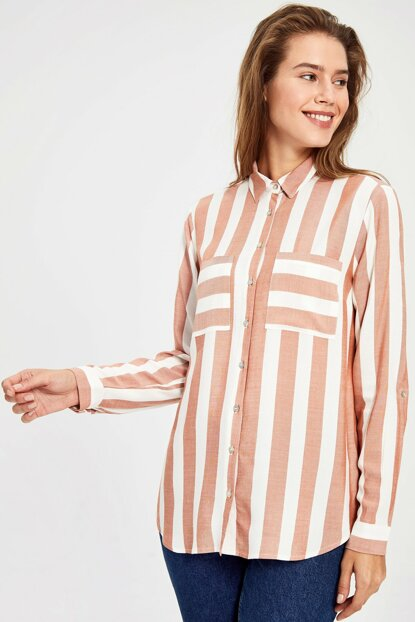 Women's Matte Pink Striped Shirt 9WS040Z8
