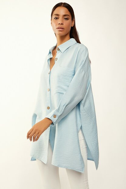 Women's Blue Linen Viscose Oversize Shirt FN01553