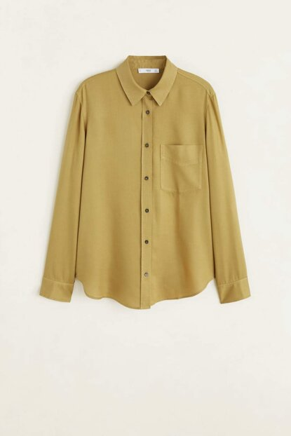 Women's Khaki Color Denim Style Soft Shirt 51090921