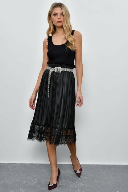 Women's Black Ruched Pilise Synthetic Leather Skirt SB215