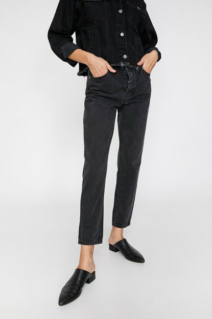 Women Black Boyfriend Jean Pants 0KAK47480OD