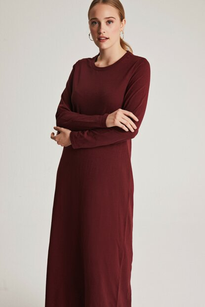 Women's Burgundy Natural Fabric Basic Dress E7001