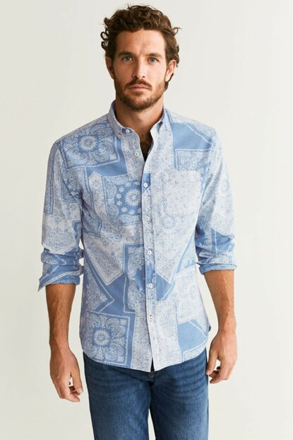 Men's Indigo Blue Regular Cut Patterned Real Indigo Shirt 53083732