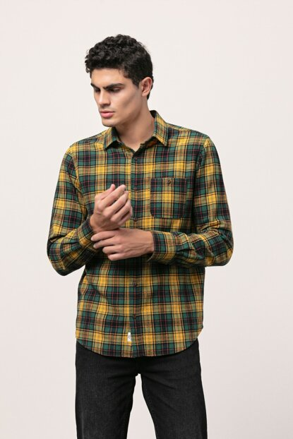 Men's Green Plaid Cotton Regular Shirt 359903