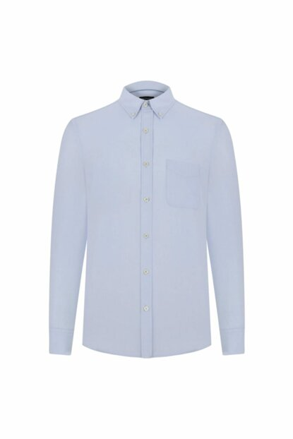 Men's Light Blue Pocket Detail Slim Woven Shirt 333545