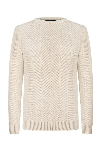Men's Beige Melange Braided Cycling Collar Sweater 354211